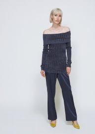 Daphne Velour Rib Off Shoulder Sweater by Sies Marjan at Totokaelo