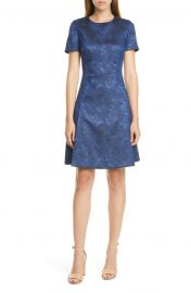 Dargy Jacquard Short Sleeve A-Line Dress by Boss at Nordstrom