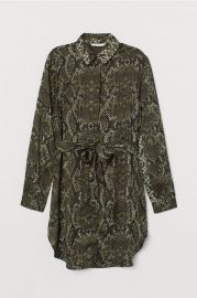 Dark green/snakeskin-patterned Blouse with Tie Belt at H&M