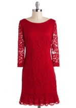 Dark red lace dress at Modcloth