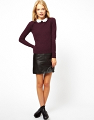 Dark red sweater with lace collar at Asos