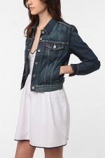Dark wash denim jacket at Urban Outfitters at Urban Outfitters