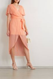 Darva belted wrap-effect Swiss-dot silk and cotton-blend midi dress at Net a Porter