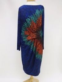 David Meister Blue Multi Print Pleated Detail Sheath Dress  at eBay