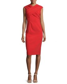 David Meister Cap-Sleeve Crisscross Sheath Dress at Neiman Marcus