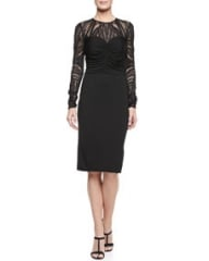David Meister Deco Lace Jersey Dress at Neiman Marcus