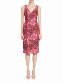 David Meister Double V-Neck Embroidered Cocktail Dress at Saks Off 5th