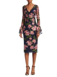 David Meister Floral Embroidered Bell-Sleeve Sheath Dress at Saks Fifth Avenue