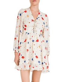 Daydream Flowers Lace-Up Floral Silk Dress at Bloomingdales