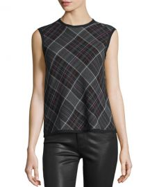 Dayla Boxy Plaid Tank by Public School at Neiman Marcus