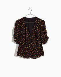 Daylight tie sleeve top in feline floral at Madewell