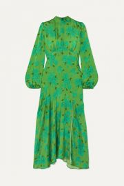 De La Vali - Clara floral-print satin midi dress at Net A Porter