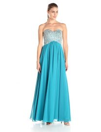 Decode 1 8 Women s Teal Strapless Beaded Bust Dress teal at Amazon