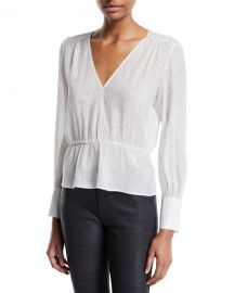 Deep V Metallic Peplum Top by 7 For All Mankind at Bergdorf Goodman