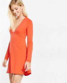Deep v fit flare dress at Express