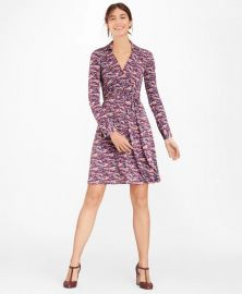Deer-Print Jersey Faux Wrap Dress at Brooks Brothers