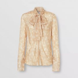 Deer Print Silk Chiffon Pussy-bow Blouse at Burberry