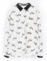 Deer print blouse at She Inside
