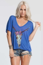Deer skull flowers tee by Chaser at The Trend Boutique