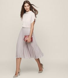 Della high neck short sleeved top at Reiss