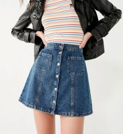 Denim Button-Front Skirt by BDG at Urban Outfitters
