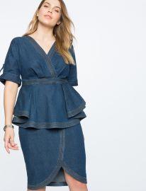 Denim Dress with Peplum Detail at Eloquii