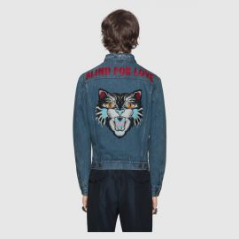 Denim Jacket with Embroideries by Gucci at Gucci