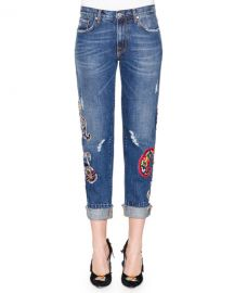Denim Jeans with Paisley Patches at Neiman Marcus
