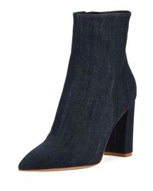 Denim Point-Toe 85mm Boots by Gianvito Rossi at Bergdorf Goodman