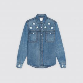 Denim Shirt with Star Embroidery by Sandro at Sandro