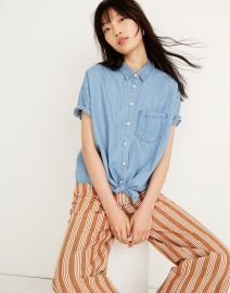 Denim Short-Sleeve Tie-Front Shirt at Madewell