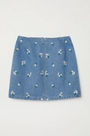 Denim Skirt with Embroidery at H&M