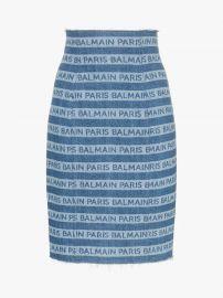 Denim Stripe Logo Pencil Skirt at Browns