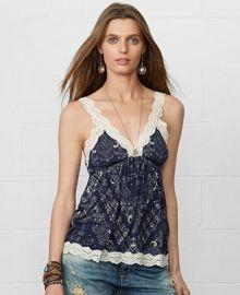 Denim and Supply Ralph Lauren Lace-Trim Bandana-Print Camisole - Tops - Women - Macys at Macys