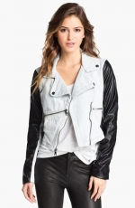 Denim and faux leather jacket by Steve Madden at Nordstrom