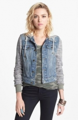 Denim and knit jacket by Free People at Nordstrom