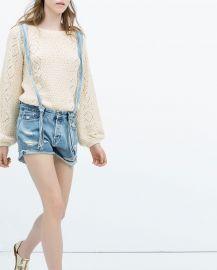 Denim dungaree shorts at Zara