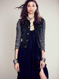 Denim knit jacket in black at Free People