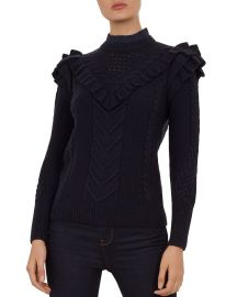 Denita Ruffled Cable-Knit Sweater at Bloomingdales