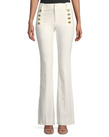 Derek Lam 10 Crosby Flare Trousers w  Sailor Buttons at Neiman Marcus