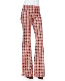 Derek Lam Novelty Plaid Flare Trousers  Orange Multi at Neiman Marcus