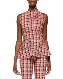 Derek Lam Novelty Plaid Sleeveless Peplum Top  Orange Multi at Neiman Marcus