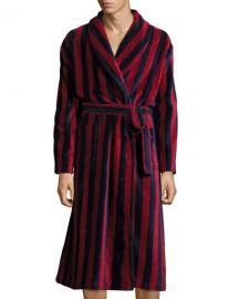 Derek Rose Striped Velour Robe  Navy Burgundy at Neiman Marcus