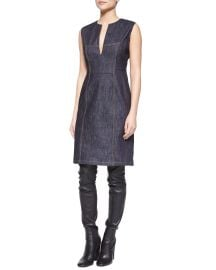 Derek Lam  Denim Split-Neck Sheath Dress at Bergdorf Goodman