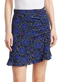 Derek Lam 10 Crosby - Floral-Print Ruched SIlk Mini Skirt at Saks Fifth Avenue