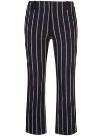 Derek Lam 10 Crosby  Cropped Flare Pencil Striped Trouser With Braided Trim  - Farfetch at Farfetch