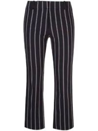 Derek Lam 10 Crosby  Cropped Flare Pencil Striped Trouser with Braided Trim at Farfetch