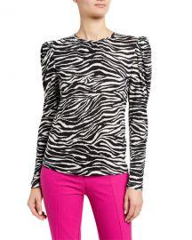 Derek Lam 10 Crosby Amara Puff-Sleeve Zebra-Print Top at Neiman Marcus