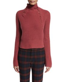 Derek Lam 10 Crosby Asymmetric Ribbed Cashmere Sweater  Rosewood at Neiman Marcus