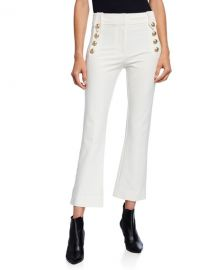 Derek Lam 10 Crosby Cropped Flare Trousers w  Sailor Buttons at Neiman Marcus